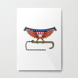 American Eagle Clutching Towing J Hook USA Flag Retro Metal Print
