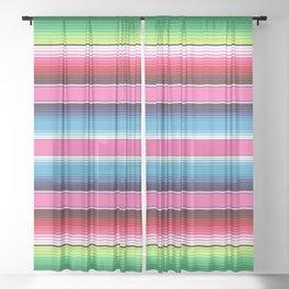 Pink Mexican Serape Blanket Stripes Sheer Curtain