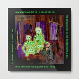 Glowing Green Skeleton Dream Metal Print