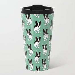 Cute double hooded pied Frenchie is chilling at home Travel Mug