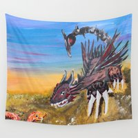 dessert Wall Tapestries featuring Dessert Sand Earth Dragon by SwinkArt