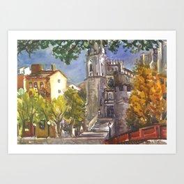 The Red Bridge at Girona, Spain Art Print