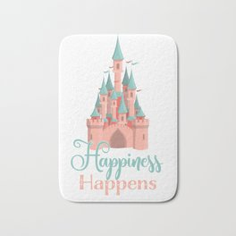 Happiness Happens Castle Newlywed Engagement Couple Bath Mat