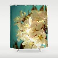 wedding Shower Curtains featuring Wedding Bells by Lisa Dream Wood