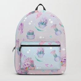 Rainbow Skull Succulent Crystal Garden Pattern Backpack