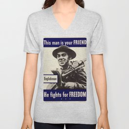 Englishman-He Fights For Your Freedom Unisex V-Neck