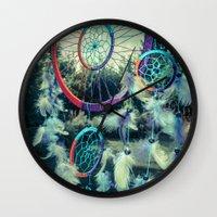 dream catcher Wall Clocks featuring Dream Catcher by Sandy Broenimann