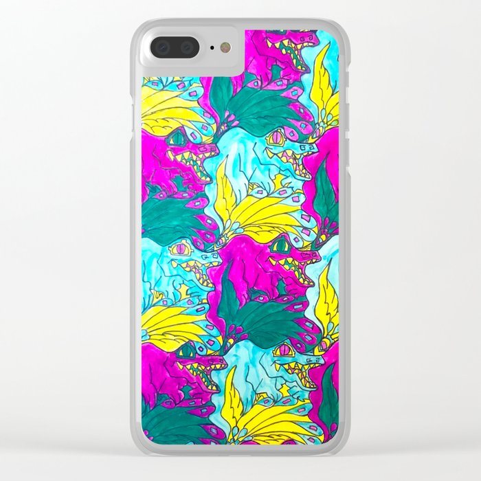 The Alligator Grins / The Peacock Weeps Clear iPhone Case