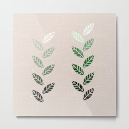 Green Leaves in Brown Grain Metal Print