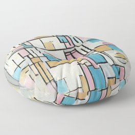 Composition in Oval with Color Planes 1 Floor Pillow