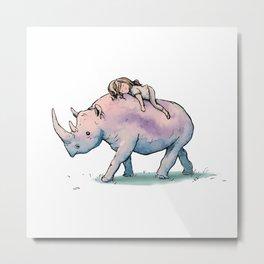 """ Wild Child & Rhino "" Metal Print"