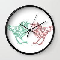 birdy Wall Clocks featuring Birdy by Charline Denys