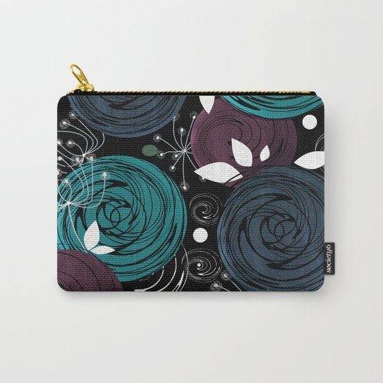 Abstract flowers on a black background . Carry-All Pouch