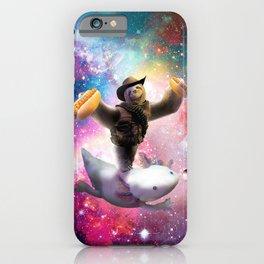 Cowboy Space Sloth Riding Axolotl - Hotdog iPhone Case