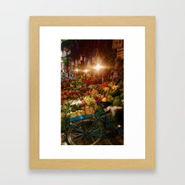 Fruit MarkET with blue bicycle Framed Art Print