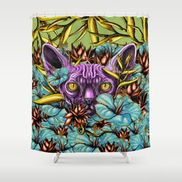 The Sphynx and the Flowers Shower Curtain