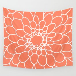 Coral Chrysanth Wall Tapestry