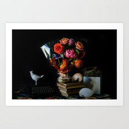 Flowers, White Bird, Shells, and Nest Art Print