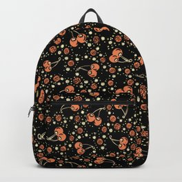 Wild Cherries Field , Woodcut Style Fruit Pattern Illustration Red on Black Backpack