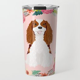 Cavalier king charles spaniel blenheim white dog floral wreath dog gifts pet portraits Travel Mug