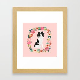 japanese chin floral wreath dog breed pet portrait pure breed dog lovers Framed Art Print
