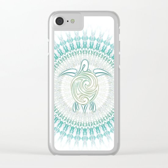 Turquoise Green Turtle And Mandala Clear iPhone Case