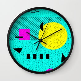Hello Memphis Lemon Splash Wall Clock