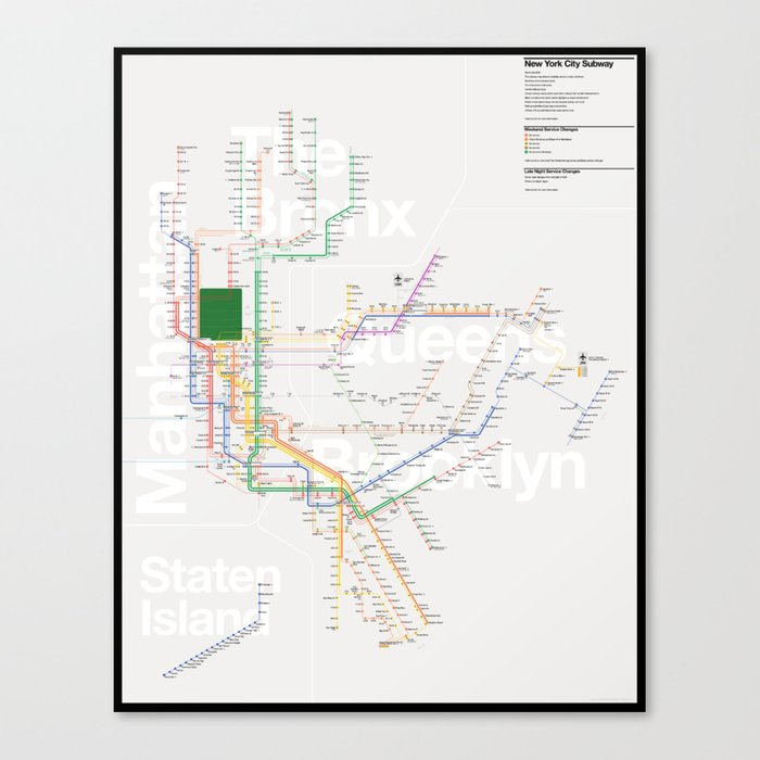 New York Subway Map To Print.New York City Subway Map Canvas Print By Tommimoilanen
