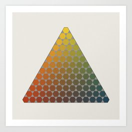 Lichtenberg-Mayer Colour Triangle vintage remake, based on Mayers' original idea and illustration Art Print