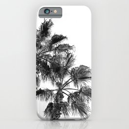 Big Sur Palms | Black and White Palm Trees California Summer Sky Beach Surfing Botanical Photography iPhone Case
