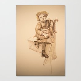 Watercolor Portrait Painting of Victorian Girl with Button Shoes Canvas Print