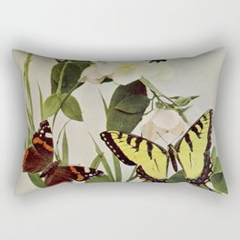 Vintage Butterflies in Nature Illustration (1899) Rectangular Pillow