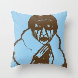 """Fluffy Manson"" in Blue Throw Pillow"
