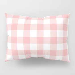 Coral Checker Gingham Plaid Pillow Sham