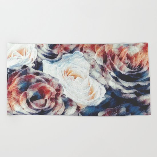 Roses print in retro drawing style watercolor digital Beach Towel