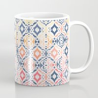 damask Mugs featuring Tropical Ikat Damask by micklyn