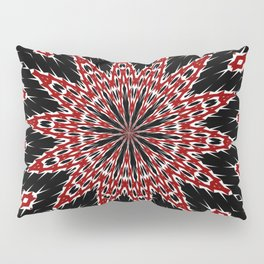 Black Red and White Bold Floral Kaleidoscope Pillow Sham