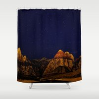 night sky Shower Curtains featuring night sky by haroulita