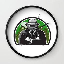 Mobster Car Grille Face Circle Retro Wall Clock