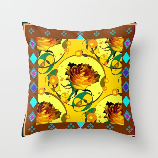 Yellow Rose Coffee Brown Western Style Abstract Throw Pillow by SharlesArt Society6