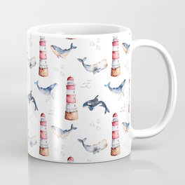 Sea Voyage Whales and Lighthouses Pattern Coffee Mug