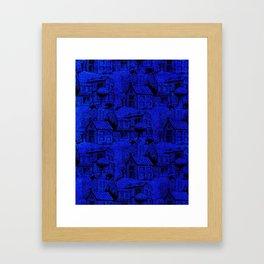 V25 Blue Architecture Design Traditional Moroccan Rug Background. Framed Art Print
