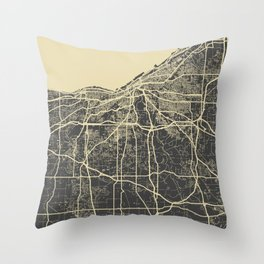 Cleveland map yellow Throw Pillow