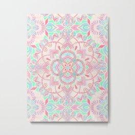 Mint and Blush Pink Painted Mandala Metal Print
