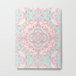 Mint and Blush Pink Painted Mandala Metal Print