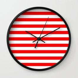 Large Berry Red and White Rustic Horizontal Tent Stripes Wall Clock