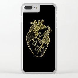 Designer Heart Gold Clear iPhone Case