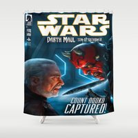starwars Shower Curtains featuring StarWars :  Count Dooku Capture! by Don Kuing