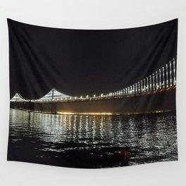 Bay Bridge Night Time Wall Tapestry