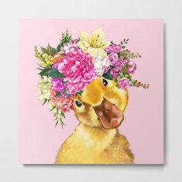 Flower Crown Baby Duck in Pink Metal Print